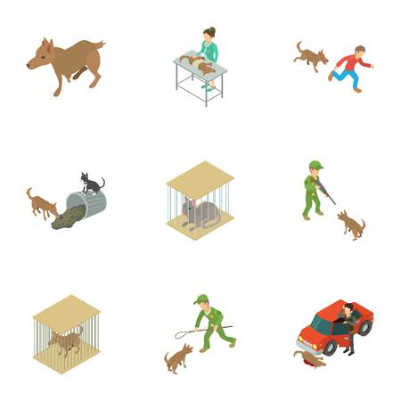 Catch the animal icons set. Isometric set of 9 catch the animal vector icons for web isolated on white background Illustration