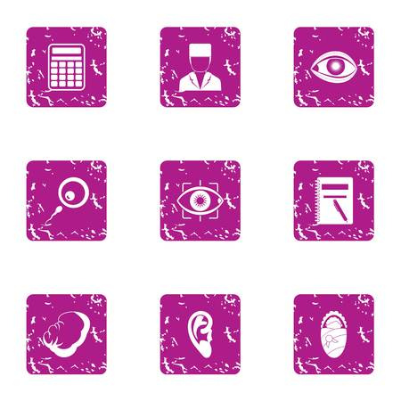 Flesh icons set. Grunge set of 9 flesh vector icons for web isolated on white background