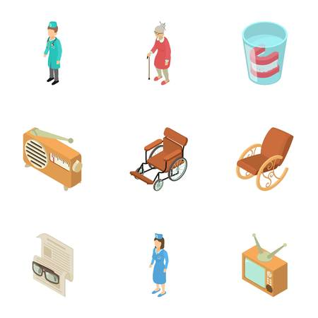 Nursing home icons set. Isometric set of 9 nursing home vector icons for web isolated on white background