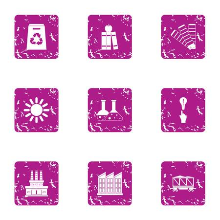 Scientific production icons set. Grunge set of 9 scientific production vector icons for web isolated on white background 向量圖像