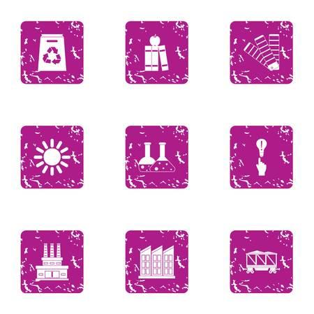 Scientific production icons set. Grunge set of 9 scientific production vector icons for web isolated on white background Illustration