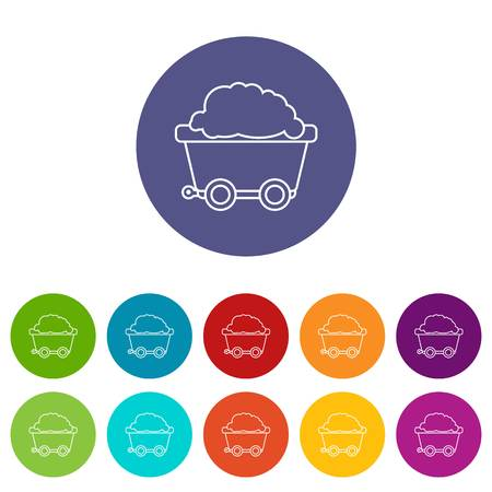 Mining cart icons set vector color