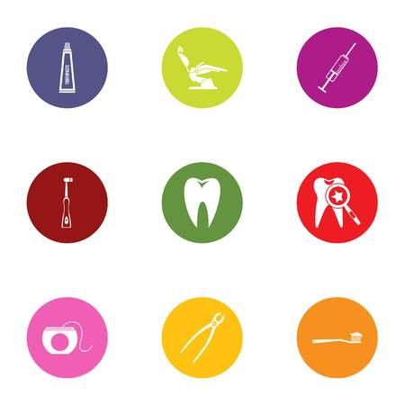 Tooth save icons set. Flat set of 9 tooth save vector icons for web isolated on white background Stok Fotoğraf - 111660409