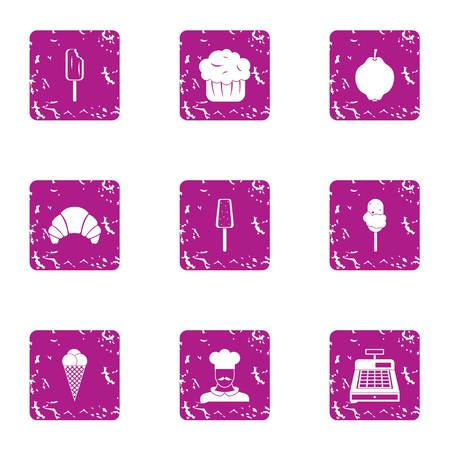 Cream man icons set. Grunge set of 9 cream man vector icons for web isolated on white background