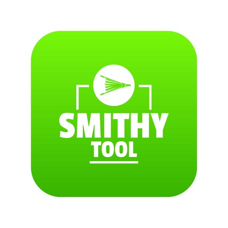 Smithy tool icon green vector