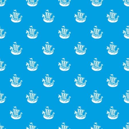 Boat pattern vector seamless blue Illustration