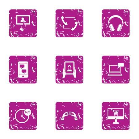 Visualization icons set, grunge style Çizim