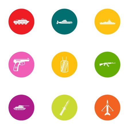 Assault icons set. Flat set of 9 assault vector icons for web isolated on white background 矢量图片