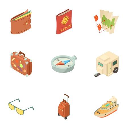 Travel way icons set. Isometric set of 9 travel way vector icons for web isolated on white background
