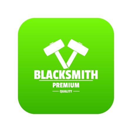 Icône de forgeron premium vecteur vert