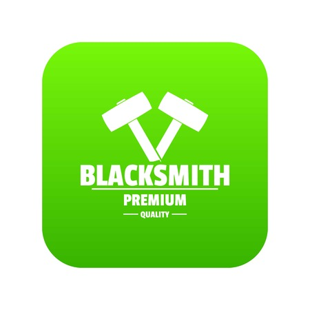 Premium blacksmith icon green vector Illustration
