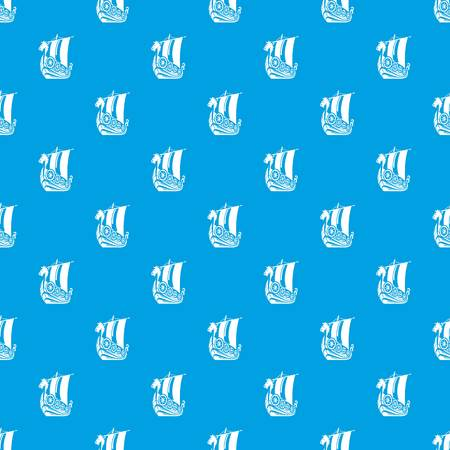 Ancient ship pattern vector seamless blue
