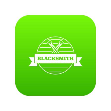Hard blacksmith icon green vector