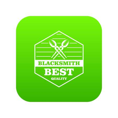 Quality blacksmith icon green vector Illustration