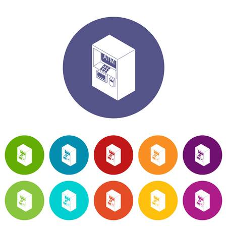 Atm icons color set vector for any web design on white background