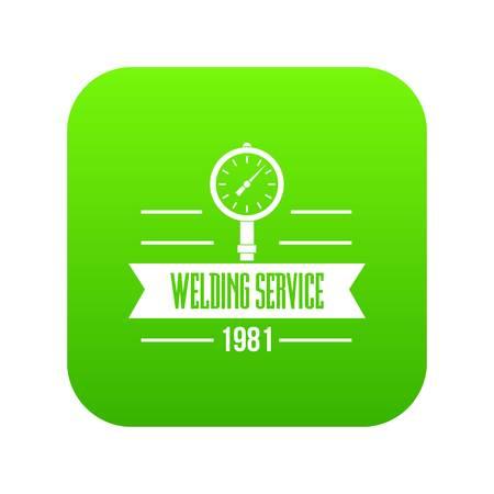 Welding service icon green vector Illustration