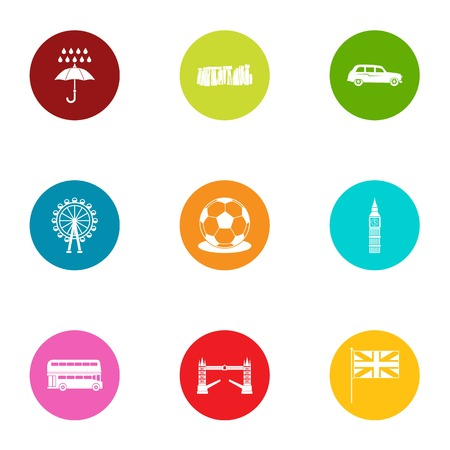Foggy albion icons set. Flat set of 9 foggy albion vector icons for web isolated on white background Illustration