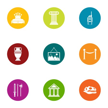 Museum business icons set, flat style