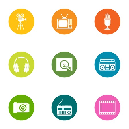 Video control icons set. Flat set of 9 video control vector icons for web isolated on white background