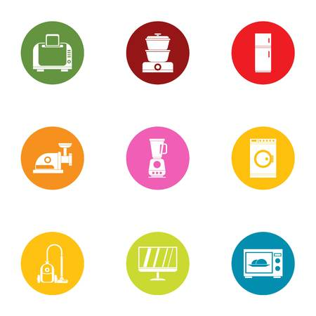Home technology icons set. Flat set of 9 home technology vector icons for web isolated on white background