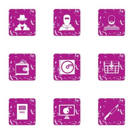 Custody icons set. Grunge set of 9 custody vector icons for web isolated on white background