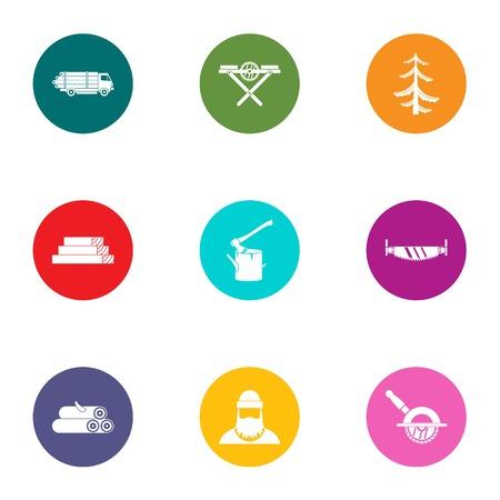Conjunto de iconos de área forestal. Conjunto plano de 9 iconos de vector de área de bosque para web aislado sobre fondo blanco Ilustración de vector