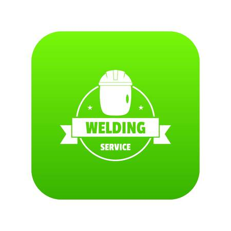 Welding mask icon green vector