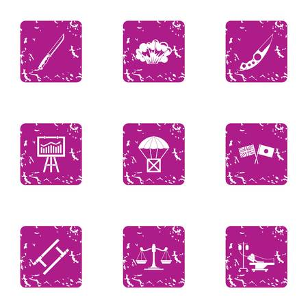 Survival icons set. Grunge set of 9 survival vector icons for web isolated on white background