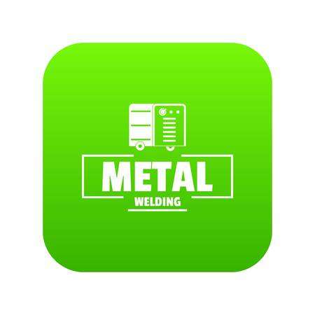Welding metal icon green vector
