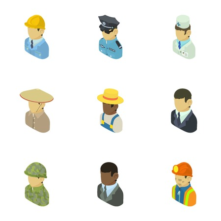 Personage icons set. Isometric set of 9 personage vector icons for web isolated on white background