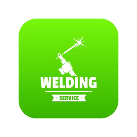 Welding workshop icon green vector