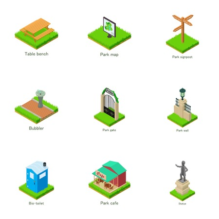Sights of the town icons set. Isometric set of 9 sights of the town vector icons for web isolated on white background