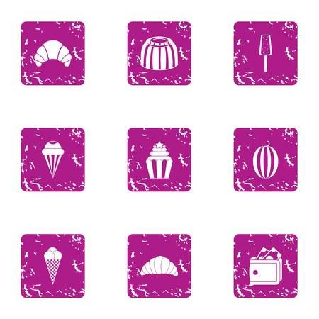 French horn icons set. Grunge set of 9 french horn vector icons for web isolated on white background