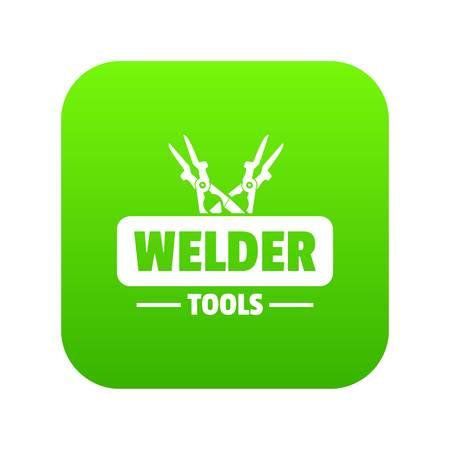 Welder work icon green vector
