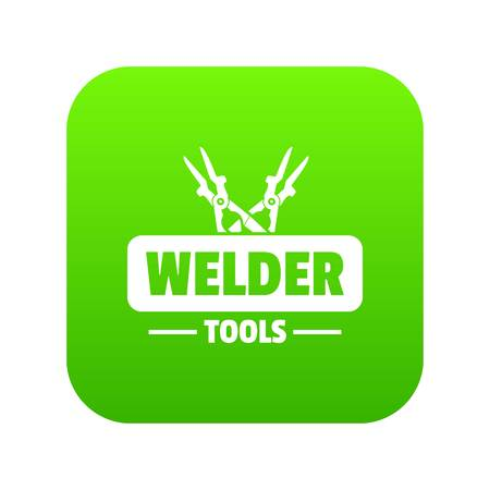 Welder work icon green vector