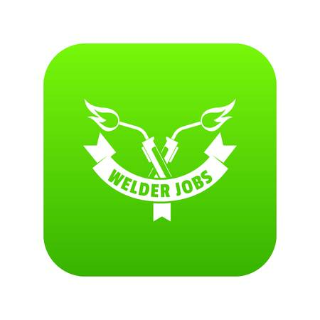 Welder job icon green vector