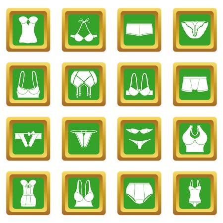 Underwear icons set green square isolated on white background