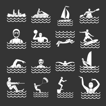 Water sport icons set grey