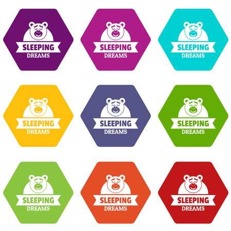 Sleeping dream icons set 9