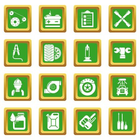 Auto repair icons set green square Stock Photo