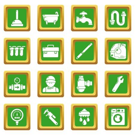 Plumber symbols icons set green square