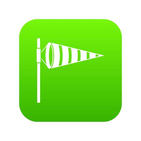 Meteorology windsock inflated by wind icon digital green