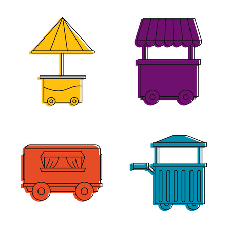 Street shop cart icon set, color outline style Stock fotó
