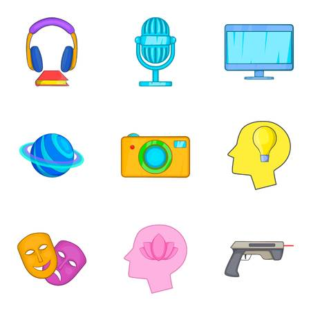 Virtual place icons set, cartoon style