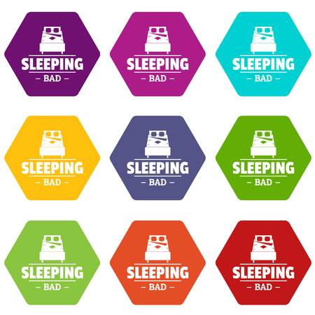 Sleeping bad icons set 9 Banco de Imagens