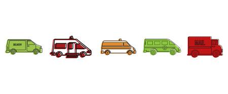 Minivan icon set, color outline style Фото со стока