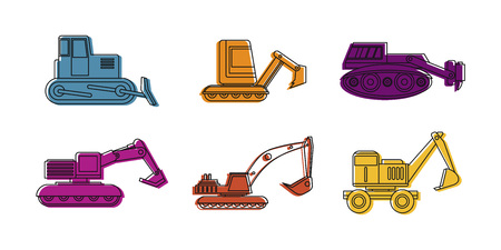 Excavator icon set. Color outline set of excavator icons for web design isolated on white background
