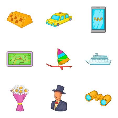 Destination icons set, cartoon style