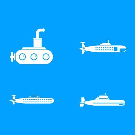 Submarine icon blue set