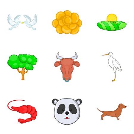 Fauna world icons set, cartoon style